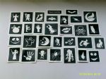 250 - 5000 Halloween themed stencils for glitter tattoos / airbrush / face painting  WHOLESALE skeleton  monster  cat  bat  skull